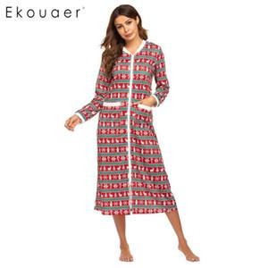 Ekouaer Inverno Pijamas camisola longa Mulheres Loungewear Vestido O-Long Neck Sleeve bolso Natal Nightdress Sleepshirts