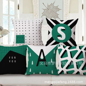 Meng Qi Sistema de color verde misterioso textil para el hogar Geometría concisa Funda de almohada Abrazo Cojín de algodón