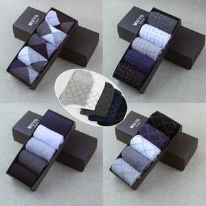 Sommer-Marken-Art- gekämmte Baumwolle atmungsaktiv Männer dot feste Socken der Farbe Männer Diamant Linie Socken kurzen Geschäfts NO Box 5pair