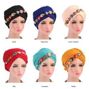 Neue Achat Diamant-Halskette Kopfschmuck Hut Balinese Wrap Kopftuch Cap Zubehör Muslim Sommer-Herbst-Mode Stein für Frauen