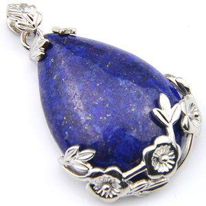 Luckyshien NOUVEAU main naturelle Lapis Lazuli Pendentifs Vintage Argent fleur de prunier élégant pendentif bijoux collier pour les femmes Pendentifs