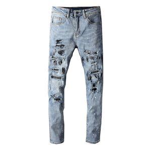 High Street Fashion Uomo Jeans Retro Blu Slim Fit sporco di vernice Lavato Designer jeans strappati Uomini Patchwork Hip Hop Distrutto