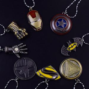 Américain Capitaine Avengers Iron Man Spiderman Alliage Pendentif Collier Marvel Film Cosplay Colliers pour Femmes Hommes Bijoux Cadeaux