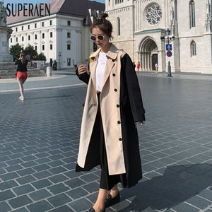 SuperAen Spring New 2020 Trench Coat for Women Double Breasted Fashion Ladies Windbreakers Wild Casual Women Clothing