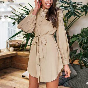 MarchWind Marque dentelle femmes Robes chemise pure maille à manches longues broderie Bouton Bureau Mesdames Robes solide Jupettes Printemps Mini robe