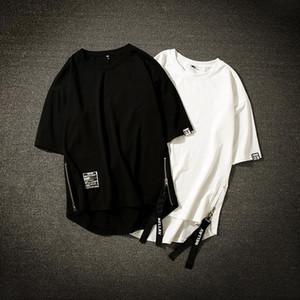 Moda Kurşun Streetwear Pamuk Erkekler tişört Yarım Boy Tee Gömlek Homme Hip Hop Kurdeleler Kısa Kollu Erkek T Gömlek Yan fermuar