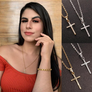 Simple Small Rhinestone Jesus Cross Pendant For women Choker Paved Crystal Silver Color Necklace With Chain Dropshipping Jewelry