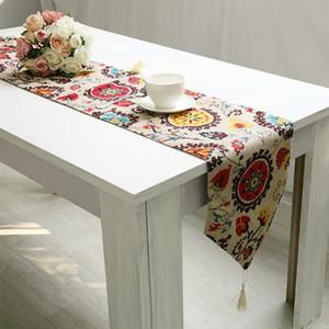 180 * 30cm Tischläufer Tuch-Abdeckung Tischtuch-Blumen-Partei Hochzeitsdeko Blüten Flocked Damasttischdecke Accessorie