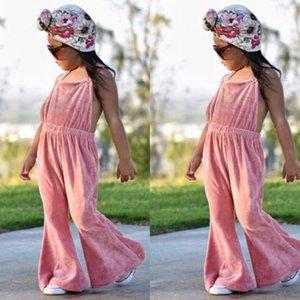Bebek Kız Kadife Sonbahar Romper Jumpsuit Katı Bebek Kayış Flare Kol Romper Kıyafet Giyim Kolsuz Genel