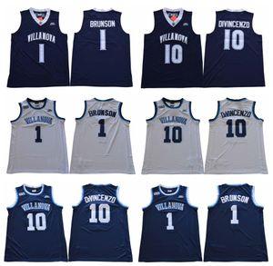 10 Donte DiVincenzo Villanova Wildcats Jersey 1 Jalen Brunson 25 Mikal Pontes NCAA Colégio Basquete Camisas Branco Azul Camisa Esportiva