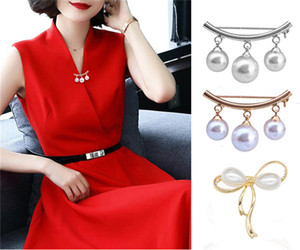 High Quality Bow-knot Brooch Sliver Gold Plated Pearl Brooches for Women Girl Sweater Shawl Dresses Cardigan Collar Pin 3 Styles