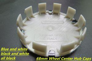 4 piezas de alta calidad azul / blanco, negro / blanco centro de la rueda casquillo emblemas de la insignia 68 mm 10 clips PARA BMW serie 3,4,5,6, X, E30 E45 Z4 318 DHL