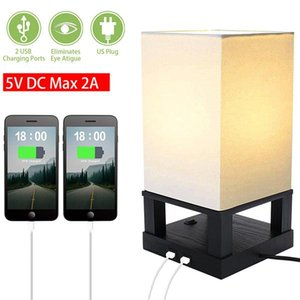 Table Lamp, Nightstand Lamp Built in Dual USB Charging Port Black Iron Base USB Lamp with NO LED Bulb, Modern USB Table Lamp