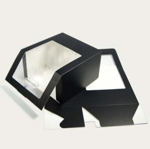 Classique papier noir 50pcs pliant avec PVC Boîte Party Balconnière cadeaux Chapeaux d'emballage Boîtes en gros