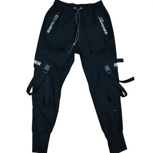 Pantaloni High Street Fashion Mens benda nera danza hip hop pantaloni con tasche Casual Cargo Pants