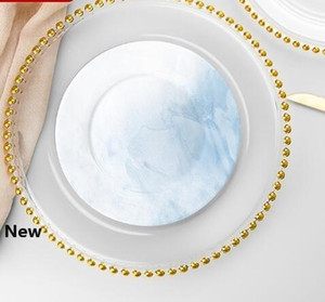27cm Round Bead Dishes Glass Plate with Gold  Silver  Clear Beaded Rim Round Dinner Service Tray Wedding Table Decoration GGA3206