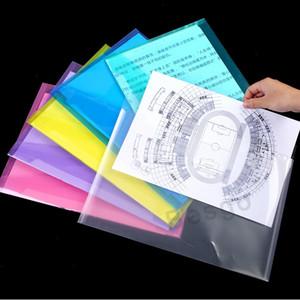 A4 الوثيقة حقائب الملف مع زر المفاجئة شفافة مغلفات الإيداع ملف البلاستيك ورقة مجلدات 18C مسح زر مجلد 6 ألوان DBC BH2709