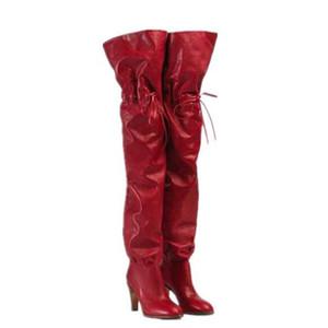 Bahar Over The Knee Boots Kadınlar Kare Topuk Uyluk Yüksek Boots Kadınlar Yuvarlak Burun strappy Moda 2020 Kış Kadın Ayakkabı