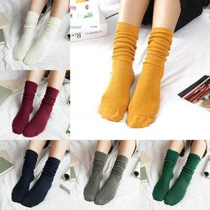 Meninas de Inverno Oriente solto Socks Mulheres Knitting Cotton Long Black Cinza Laranja Branco soltos Cores sólidas dupla Needles formal Estilo