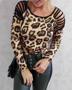 Out mujer diseñador tshirts suelta manga larga moda blusa cuchara cuello casual camisa leopardo hombro hueco hueco