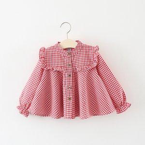 Girls Shirts Toddler Girl Long Sleeve Plaid Shirts 2019 Autumn New Baby Girl Ruffle Cute Tee Shirts Baby Clothes Girls Blouses