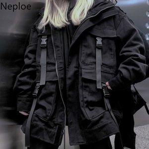 Neploe Korean Street Harajuku Black Denim Jacke Maxi-Taschen-Frauen-Jeans-Jacken lose BF Weinlese-beiläufige Mäntel 39106 T190917