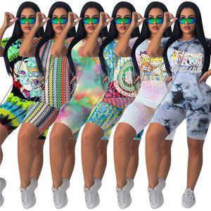 Fashion Print Women Shorts Tracksuit Summer Short Sleeve T-shirt Tops + Shorts 2 Piece Set Outfits Casual Sportswear Nightclub Suit S-4XL