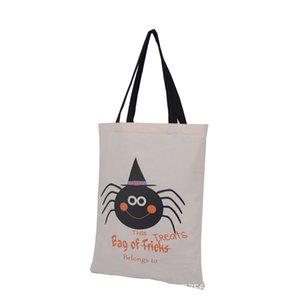 Halloween-Leinwand-Geschenk-Beutel 36 * 48cm Baumwolle Trick or Treat Kürbis Tunnelzug Pouch Beuter Totes Party Supplies OOA7160