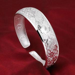 Forma-de Moda de Nova pássaros bonitos Pulseira Flor Bangles elegantes Sólidos 925 pulseiras de prata esterlina para mulheres presente AY336