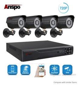 ANSPO 4CH AHD Accueil Sécurité Caméra système de vision nocturne Kit extérieur étanche IR-Cut DVR CCTV Accueil Surveillance 720P Noir / Blanc Caméra