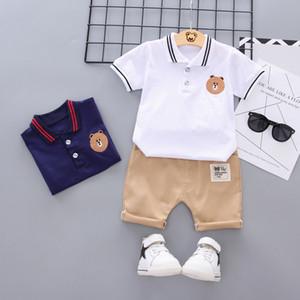 2019 Детских мальчики одежды мода лета мальчиков комплект одежды хлопок футболка + шорты 2pcs нарядов детской одежды для 1-5Y