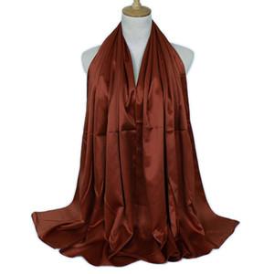 1 UNID Moda Mujer Musulmán Hijab Bufanda de Color Sólido Satén Musulmán Oriente Medio Pañuelo Hijab Bufanda Manto Bajo Dropship A26