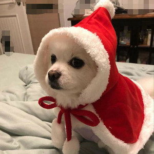 2019 Hot Cat Christmas Dog Supplies Pet Supplies Santa Hat Cloak Cape Puppy Velvet Xmas Warm Costume Outfit Christmas Pet Dog Santa Hat Cloa