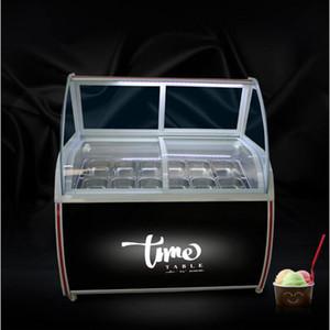 CE onaylı görüntü kabini cam Dondurucu el buzlu şeker 8 yuvarlak varil ya da 10 kare varil dondurma görüntüleme kabini vitrin