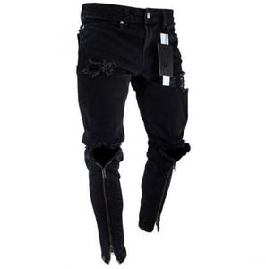 Jeans de designer pour hommes avec fermeture à glissière noire, pantalon noir et déchiré, coupe slim