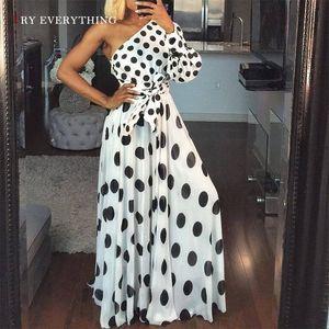 Blanc Party Dress Femmes Eté 2019 Nouveau Une Épaule Polka Dot Sexy Dress Dames À Manches Longues Tunique Une Ligne Robes Longues Pour Les Femmes