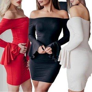 2019 뜨거운 판매 섹시한 솔리드 컬러 플레어 스커트 오프 숄더 드레스 롱 플레어 소매 타이트 Bydycon 드레스 여름 패키지 엉덩이 스커트 S-XL