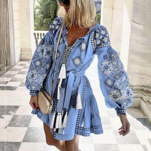 Лето Женщина Этнического Сладкого Boho цветочного длинный рукав V-образного вырез кисточка Сыпучей Мини платье бутон Бич платье