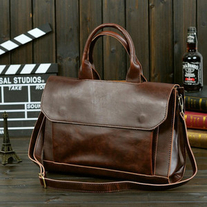 Men Briefcases Lawyer Leather Handbag Vintage Laptop Briefcase Male Computer Shoulder Bags Casual Men Office Portable Bag new