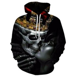 BIAOLUN Yeni Moda Erkekler / Kadınlar 3d Hoodies Metal Kafatasları öpücük Baskı kadınlar Kapşonlu Hoodies Ince 3d Tişörtü Hoody Hip hop Tops