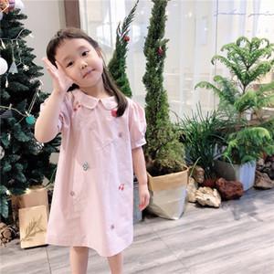 2020 BP Rosa Estilo Primavera Vestido sólida para menina miúdos partido do bebê Princess Dress for Girls cereja Roupa T200619