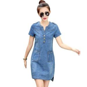 new arrival summer women denim dresses short sleeves loose A word dresses plus sizes v-neck solid denim dresses