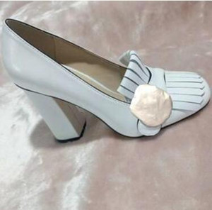Chaussures de bateau à talons hauts designer printemps automne automne chaussures de banquet Sexy Bar femme 5.5 cm boucle en métal chaussures à talons épais 34-42