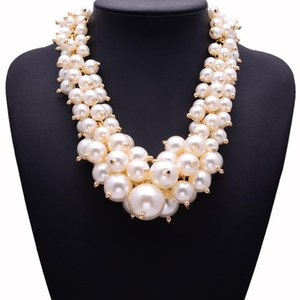 BK Choker Pearl Necklace Cluster White Big Small Simulated-pearl Round Beads Chain Bib Collar Chunky Statement Pendant Jewelry