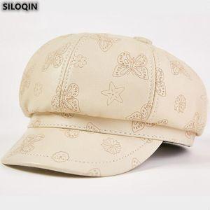 Cuir véritable tendance Hat Mode Automne Sheepskin Newsboy Caps Pour élégant Noble Ladies étudiant Cap féminin