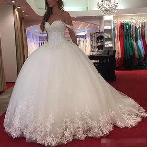 2019 vestido de novia modesto del vestido de gala Apliques de encaje fuera del hombro Más el tamaño por encargo de novia escote con cuentas vestido de novia de boda