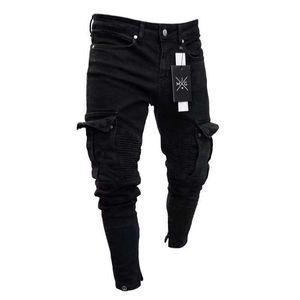 Mens Designer Jeans Primavera Negra Holes Ripped projeto machos Casual Jean Pockets Hommes Calças
