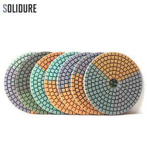7pcs / Set Colorful Diamond Wet Polishing Pad 4 inch طحن الأقراص Flexibale Sanding Pad For Marble Granite Engineered Stone