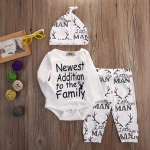 0-18M Newborn 3pcs Cotton Clothes 2020 Winter Infant Baby Boys Deer Clothes Romper Bodysuit Pants Leggings Hat for Toddler Girl