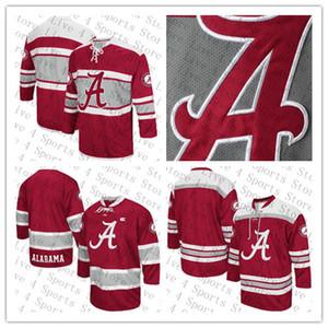Personalizado Faculdade Alabama Crimson Tide Hóquei No Gelo 96 Caelen Briere 9 Taylor Bowman 17 Michael Demise 98 Marc Demers 88 Andrew Durkin Jersey Vermelho